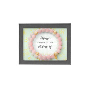 Pink Box Genuine Tiger-Eye I Love You to The Moon Oval Gemstone Bracelet Silver Mom